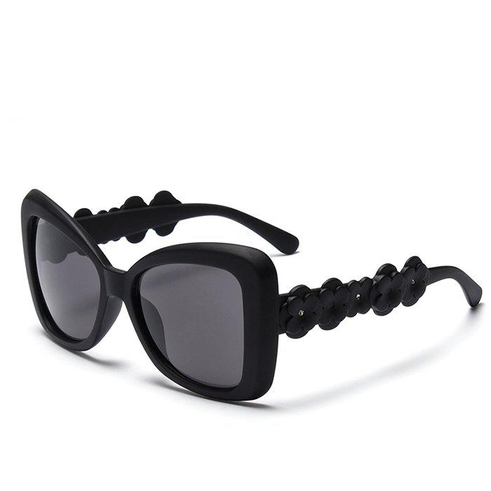 Chic Small Flower Leg and Butterfly Frame Design Women's Sunglasses - BLACK