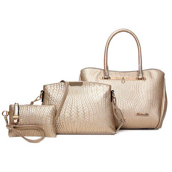 Stylish Embossing and Letter Design Women's Tote Bag - GOLDEN