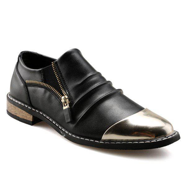 Fashionable Zipper and Metal Toe Design Men's Formal Shoes - BLACK 44