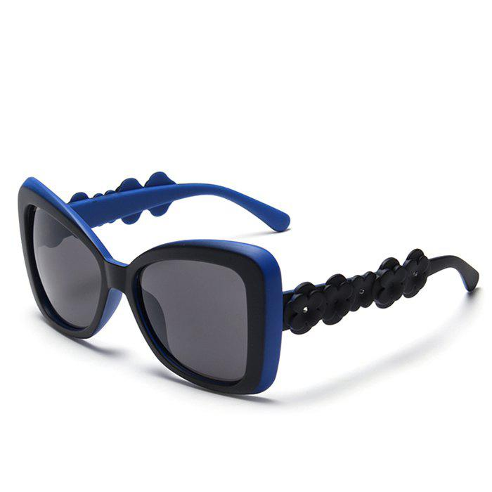 Chic Small Flower Leg and Butterfly Frame Design Women's Bicolor Sunglasses - BLUE