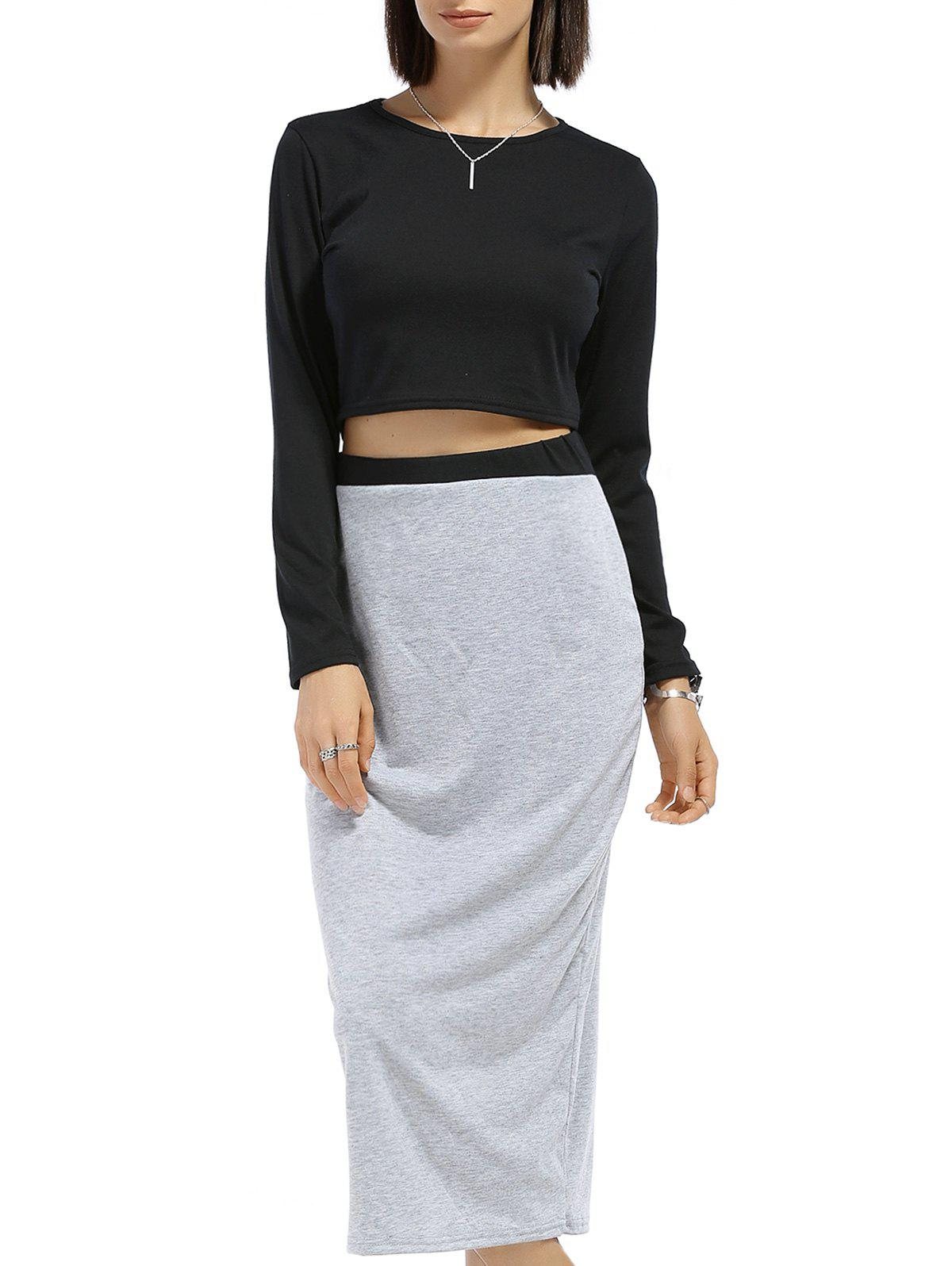 Chic Long Sleeve Round Neck Solid Color Crop Top + Spliced Skirt Women's Twinset - BLACK/GREY S