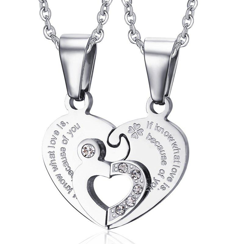 A Suit of Chic Embellished Rhinestone Heart Necklaces For Lover - SILVER