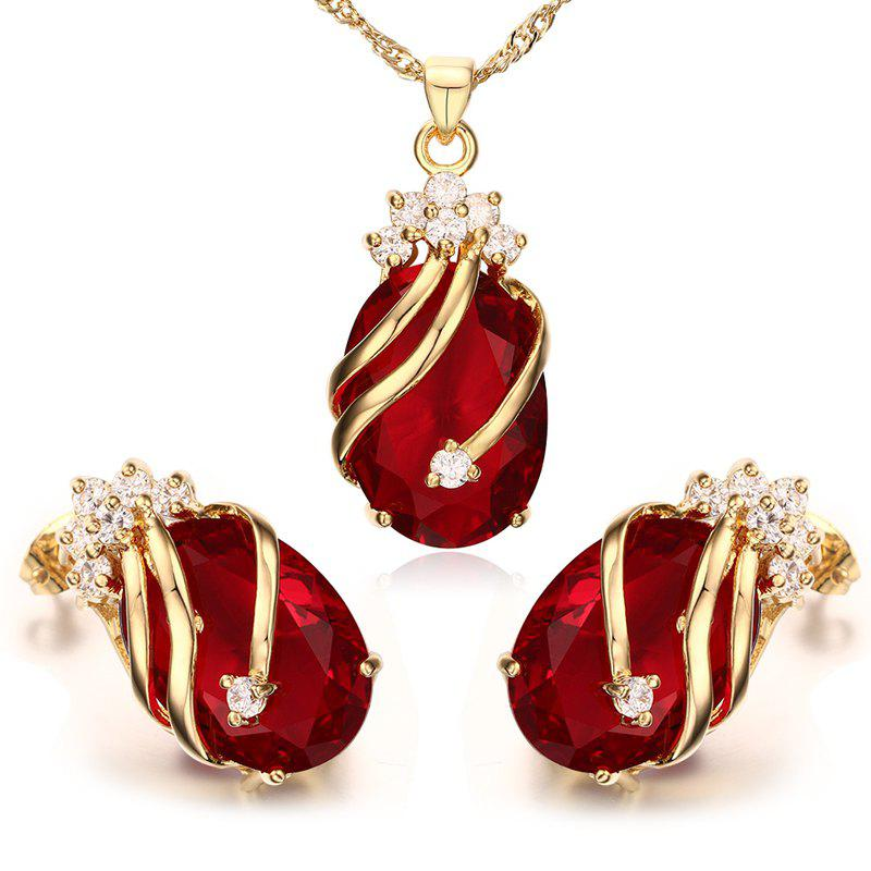 A Suit of Delicate Rhinestone Necklace Jewelry and Earrings For Women - RED