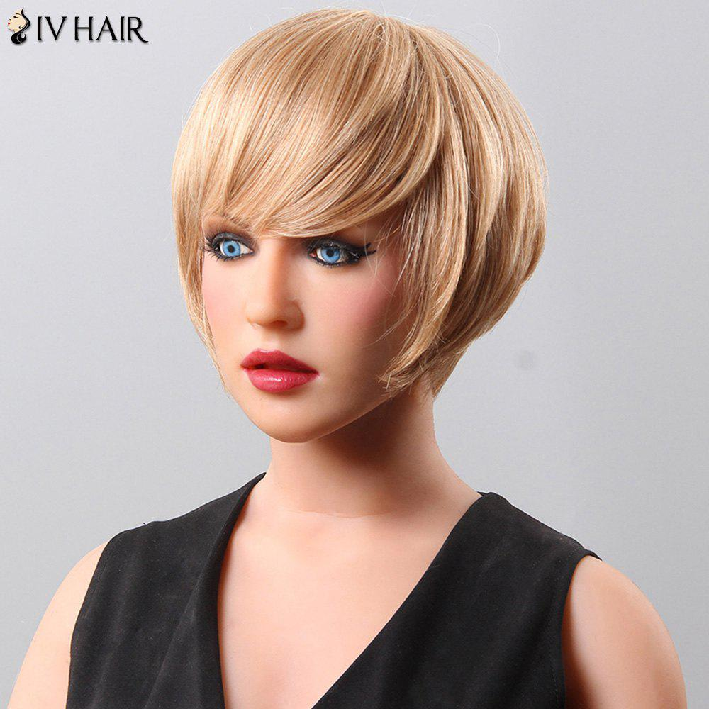 Women's Fluffy Neat Bang Short Siv Hair Human Hair Wig - BLONDE