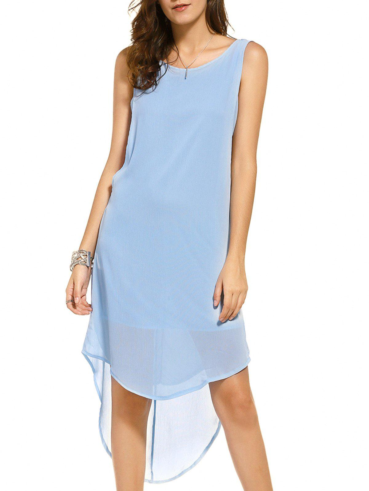 Casual Women's Scoop Neck Sleeveless High Low Backless Dress - ICE BLUE M