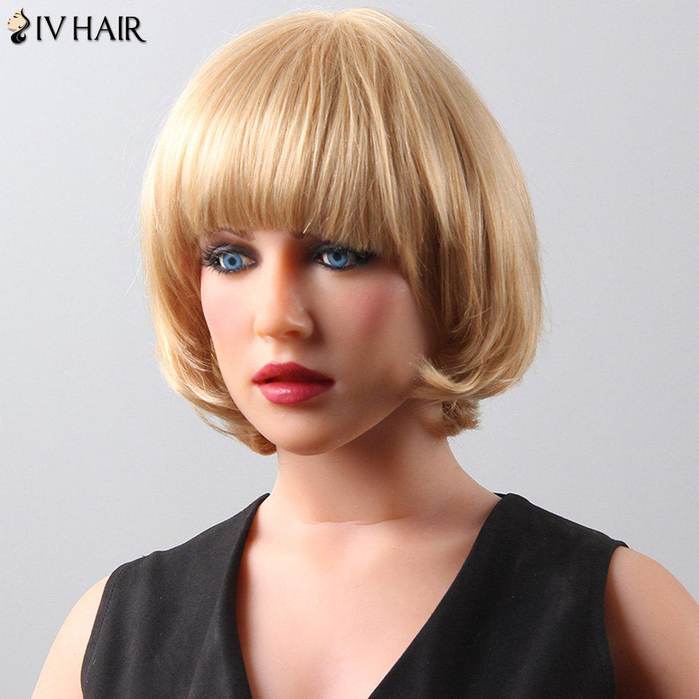 Women's Fashion Bob Style Siv Hair Human Hair Wig - BLONDE