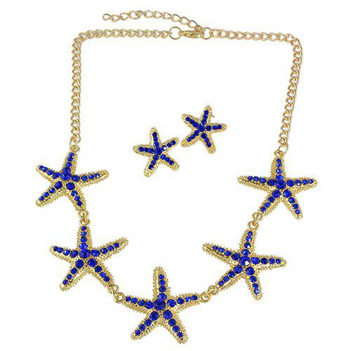 A Suit of Fashionable Rhinestone Starfish Necklace and Earrings For Women