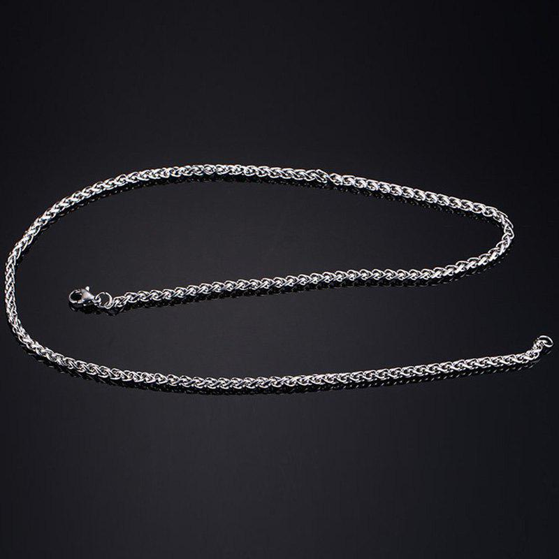 Rock Style Solid Color Snake Chain Necklace For Men - SILVER