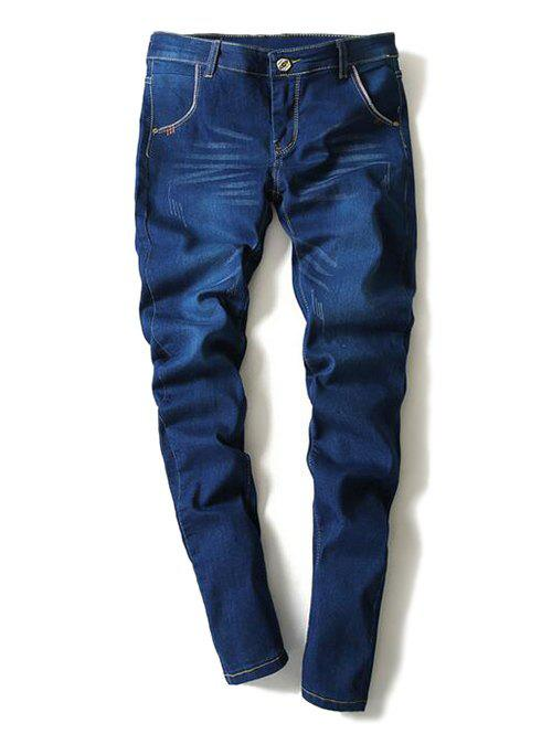 Fashionable Bleach Wash Cat's Whisker Design Narrow Feet Jeans For Men - DEEP BLUE 36