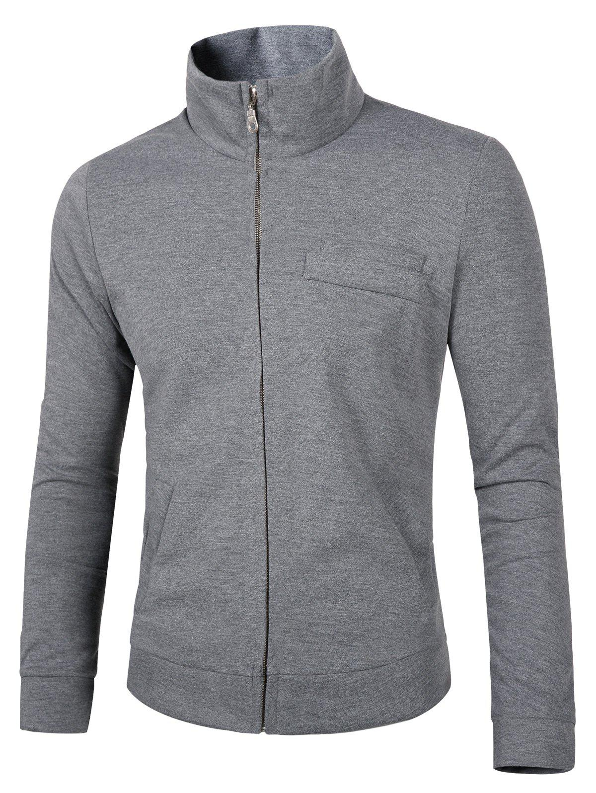 Solid Color Stand Collar Slimming Zip-Up Men's Jacket - GRAY M