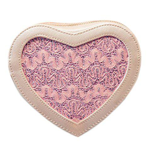Sweet Heart Shape and Lace Design Women's Crossbody Bag - LIGHT PINK