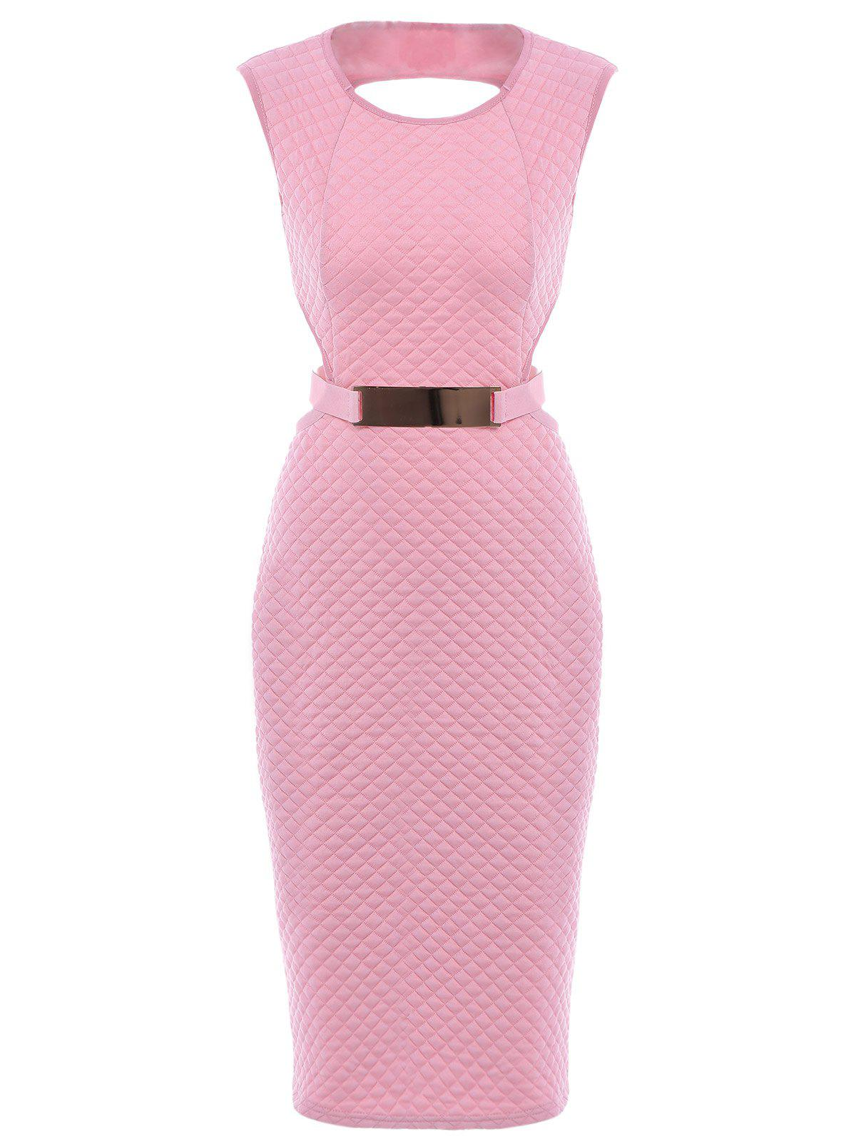 Sexy Sleeveless Round Collar Pure Color Slimming Cut Out Women's Dress - PINK S