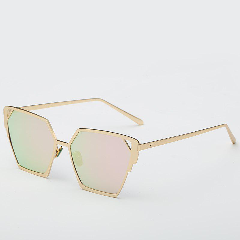 Chic Triangle Faux Jade Nose Pad Gold Polygonal Women's Reflective Sunglasses - PINK