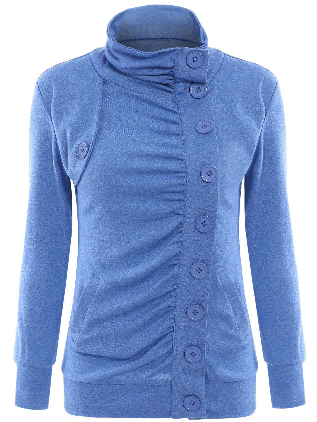 Chic Stand-Up Collar Long Sleeve Single Breasted Jacket For Women - BLUE S