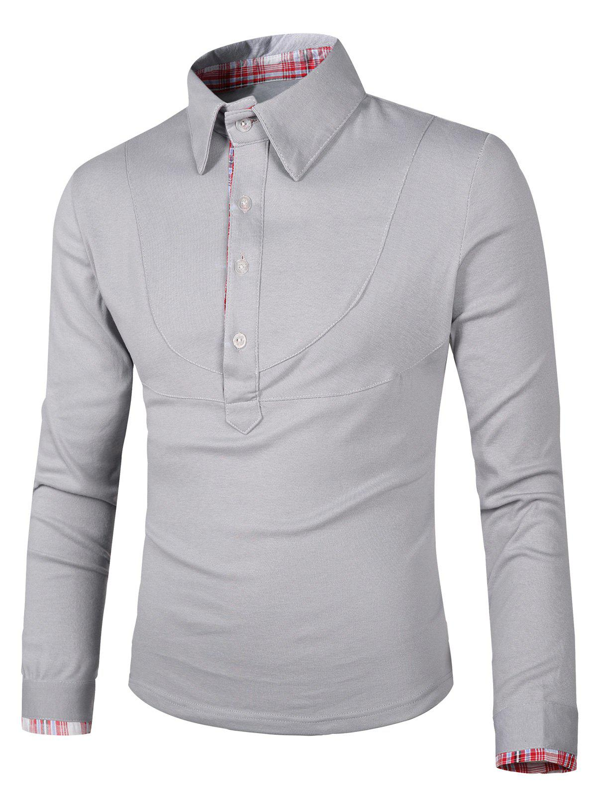 Splicing Design Checked Turn-Down Collar Long Sleeve Men's Polo T-Shirt - SILVER L