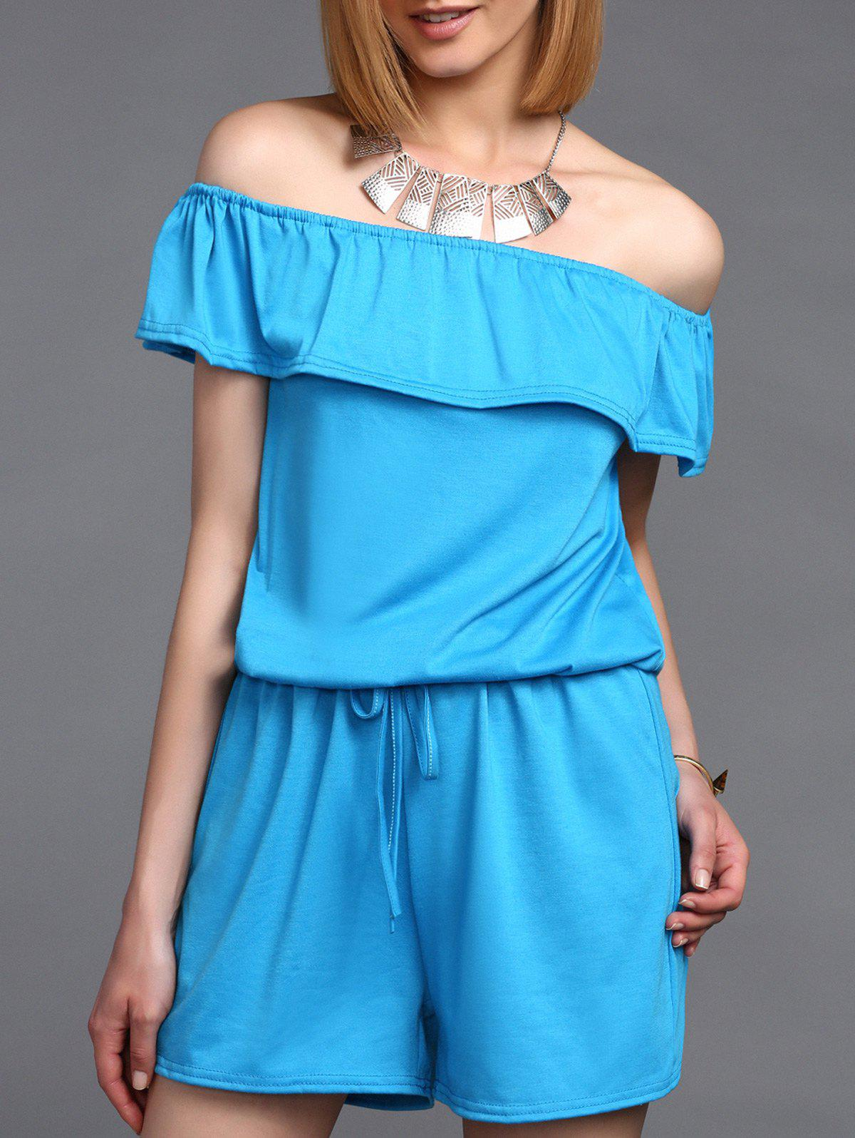 Stylish Women's Off The Shoulder Ruffled Romper - BLUE XL