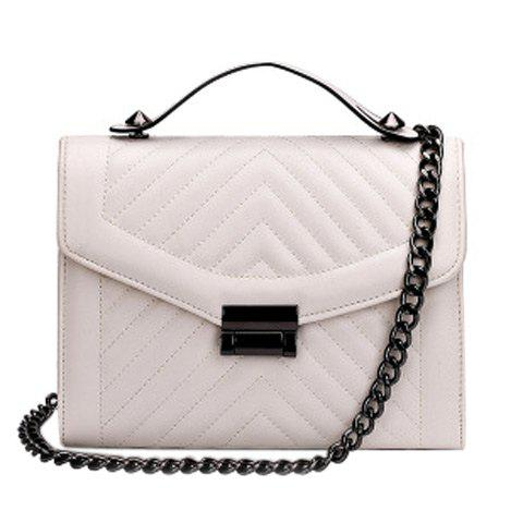 Vintage Stitching and Chains Design Women's Tote Bag - OFF WHITE