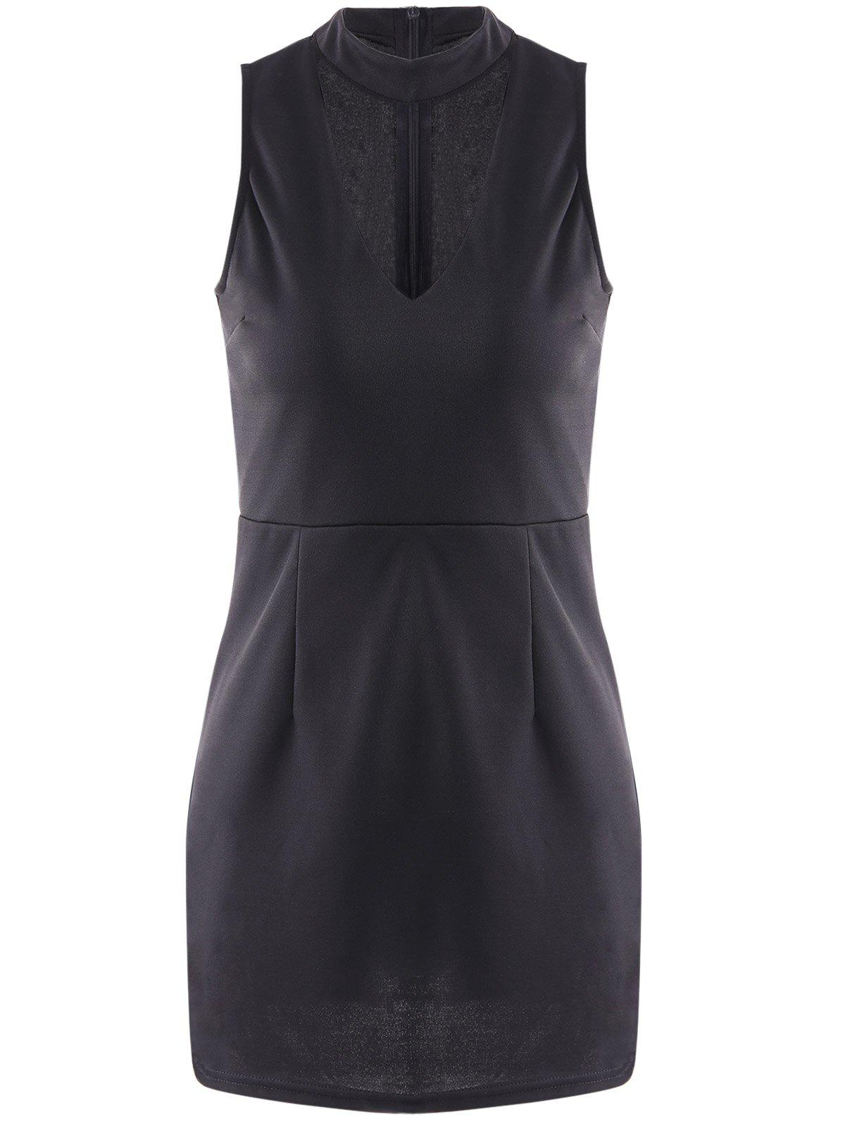 Sexy Stand-Up Collar Sleeveless Solid Color Slimming Women's Dress - BLACK S