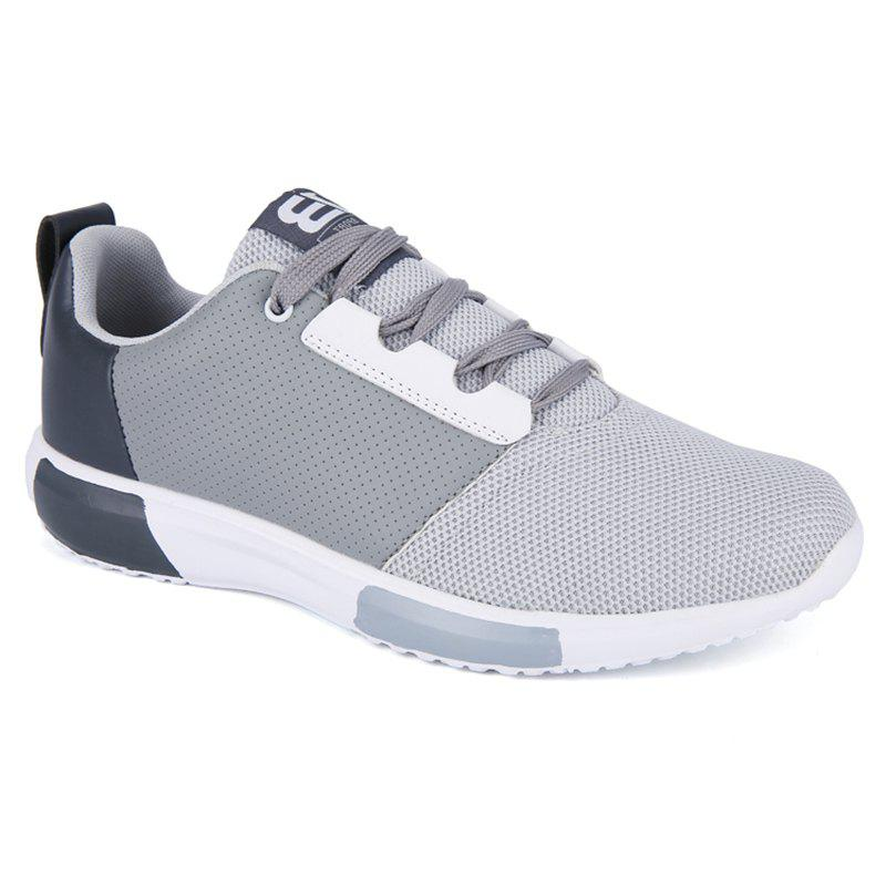 Leisure Mesh and Color Block Design Men's Athletic Shoes - GRAY 40