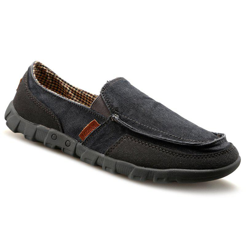 Casual Solid Color and Stitching Design Men's Loafers - BLACK 44