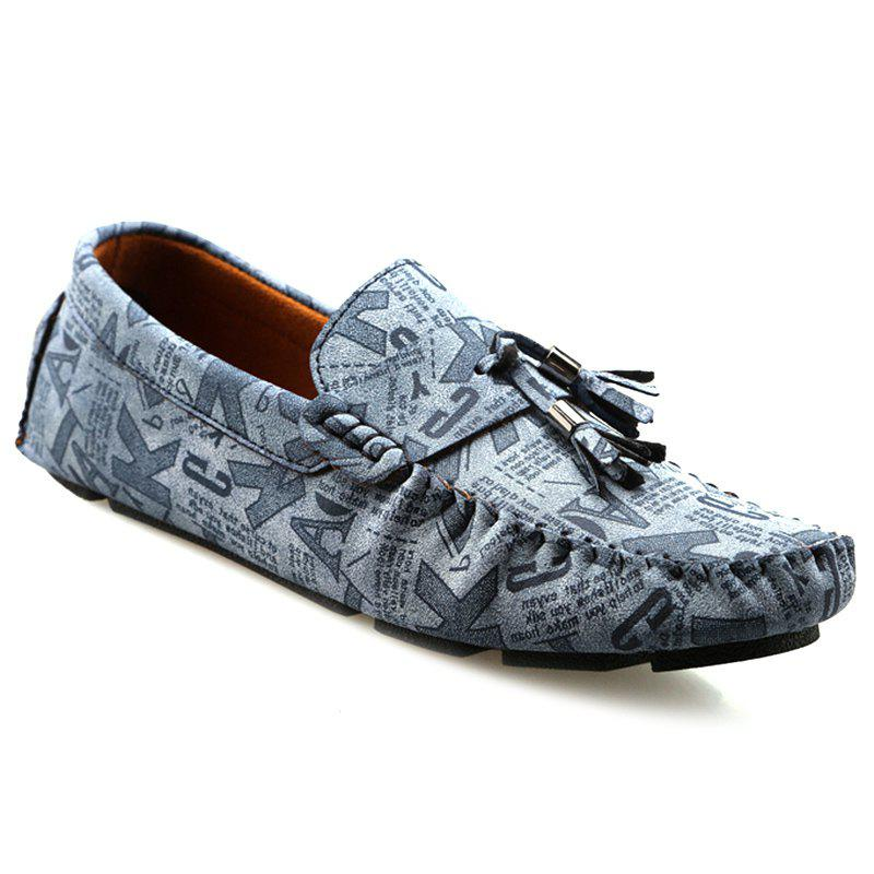 Casual Letter Print and Tassel Design Men's Loafers - BLUE 44