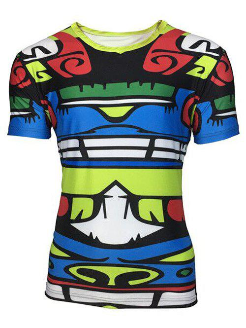 Round Neck 3D Totem Color Block Printed Short Sleeve Men's T-Shirt