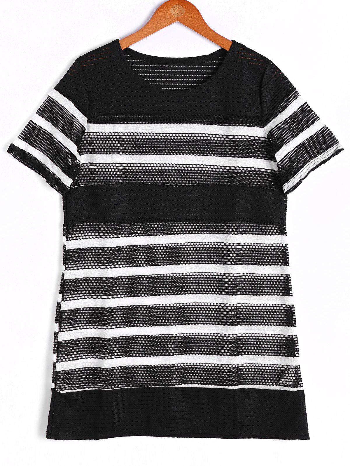 Fashionable Stripe Short Sleeve Round Neck Top For Women - WHITE/BLACK ONE SIZE(FIT SIZE XS TO M)