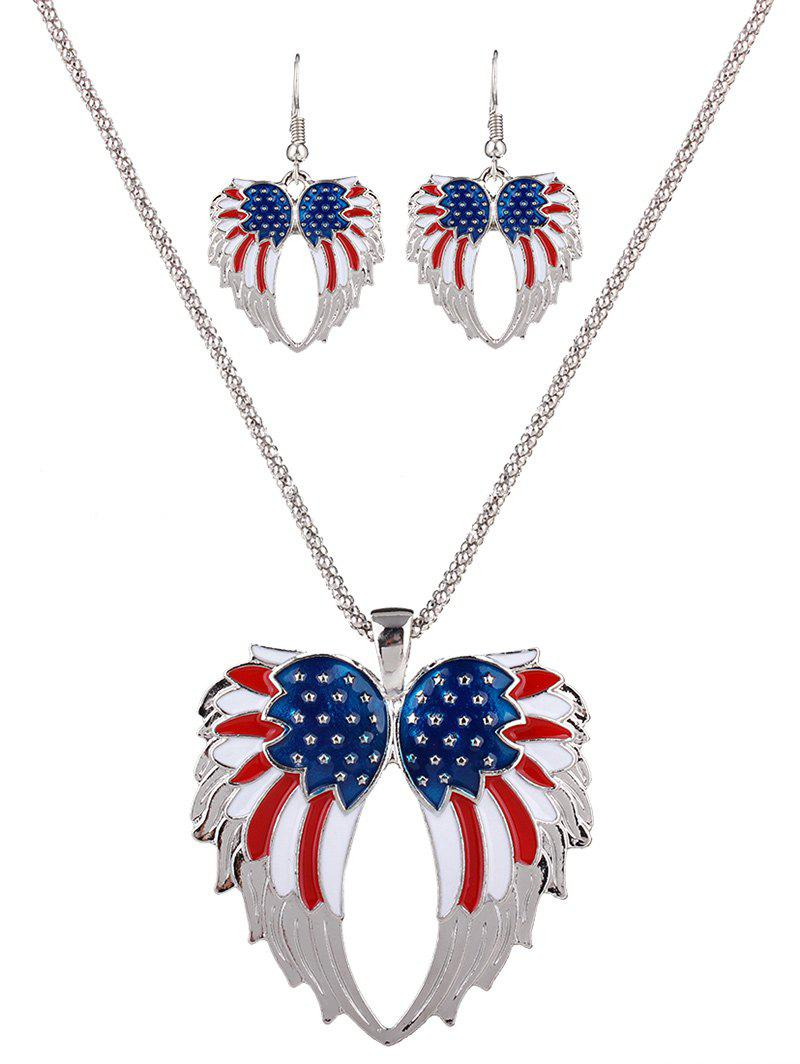 A Suit of Gorgeous USA Flag Wings Necklace and Earrings For Women - WHITE