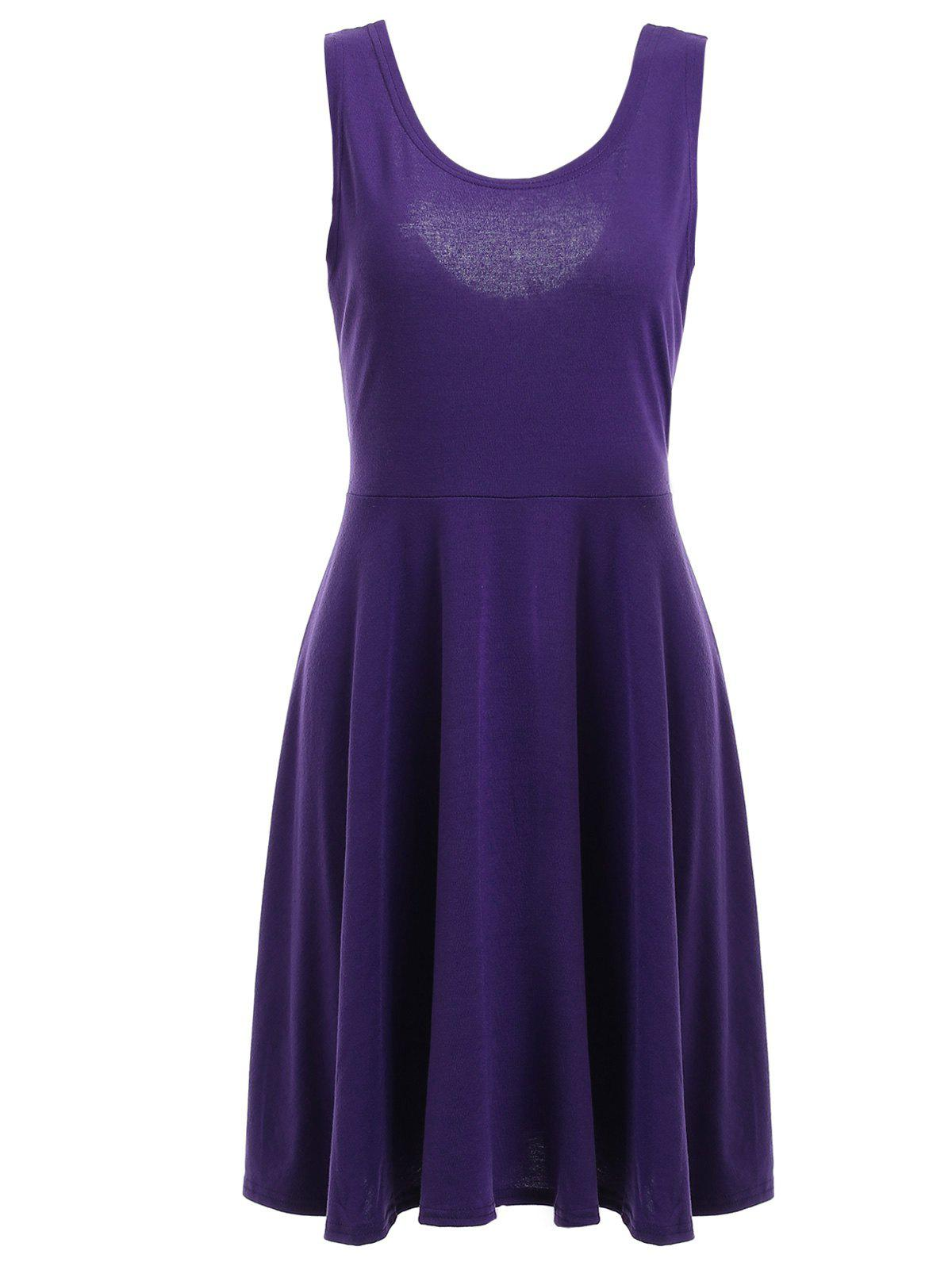 Relaxed Women's A-Line U-Neck Tank Flare Dress - PURPLE XL