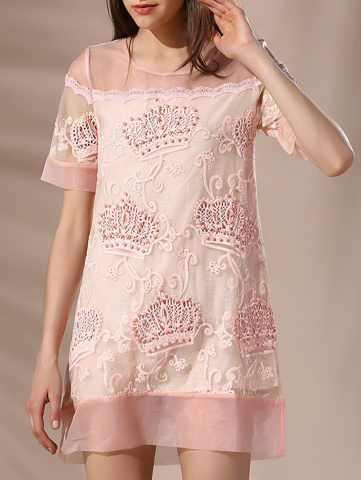 Trendy Round Neck Embroidery Beaded Voile Spliced Women's Dress - LIGHT PINK XL
