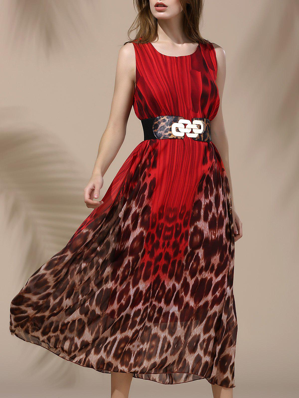 Maxi Bohemian Leopard Dress - RED ONE SIZE(FIT SIZE XS TO M)