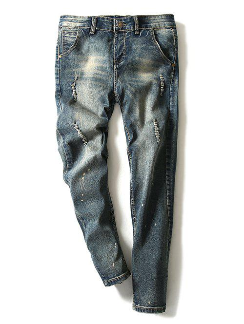 Modish Bleach Wash Hole Design Narrow Feet Jeans For Men - BLUE 36