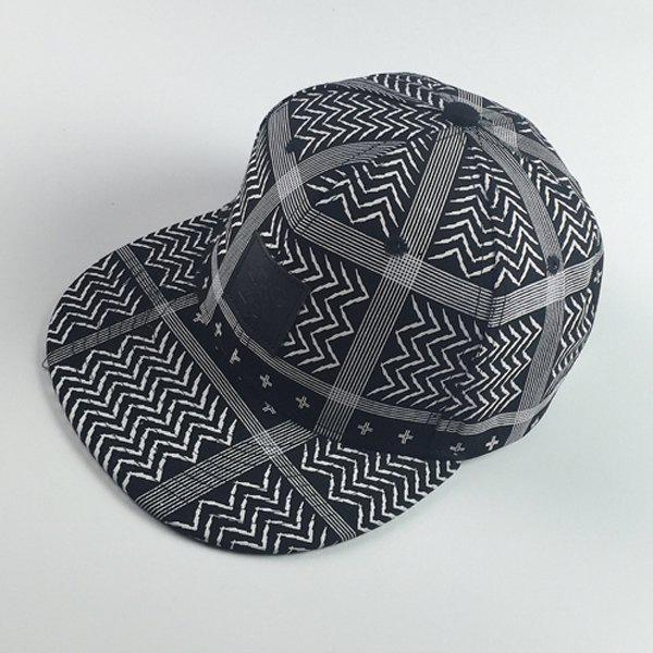 Stylish Square Labelling Wavy Stripe and Plaid Pattern Hip Hop Men's Baseball Cap