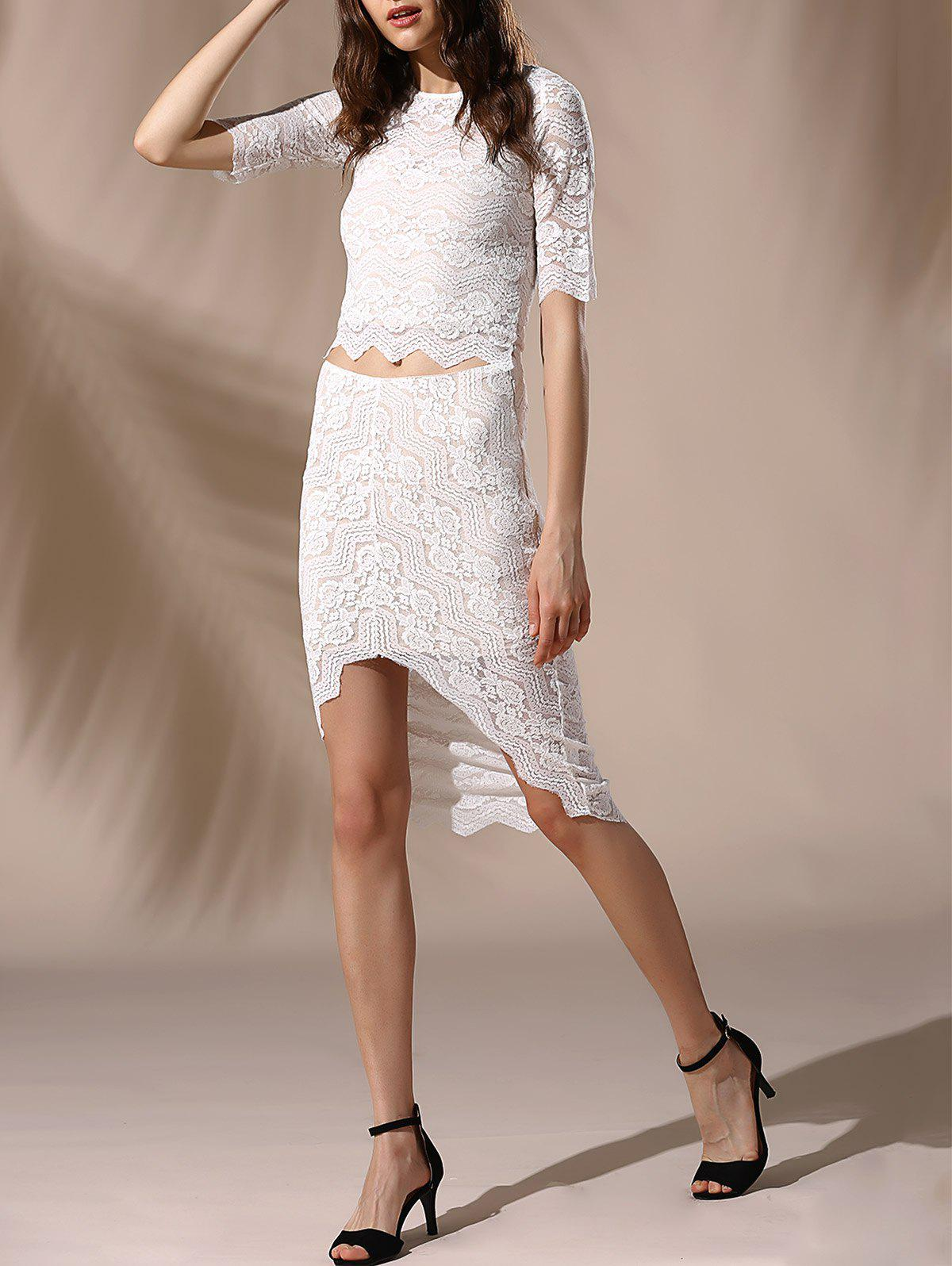 Chic Round Neck Skinny Crop Top + Lace Asymmetrical Skirt Women's Twinset - WHITE XS