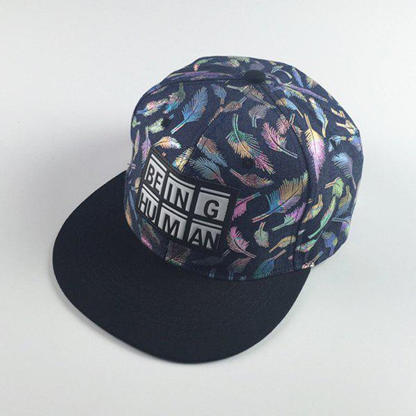 Stylish Letters Labelling Colorful Feathers Embroidery Hip Hop Baseball Cap - DEEP BLUE