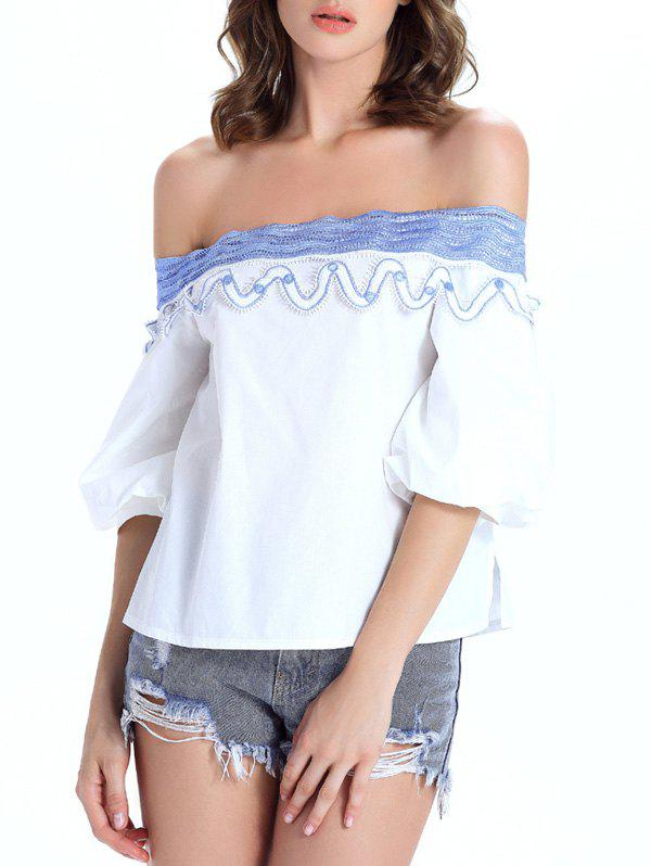Off The Shoulder Guipure See-Through Women's Blouse trendy see through off the shoulder long sleeve lace blouse for women