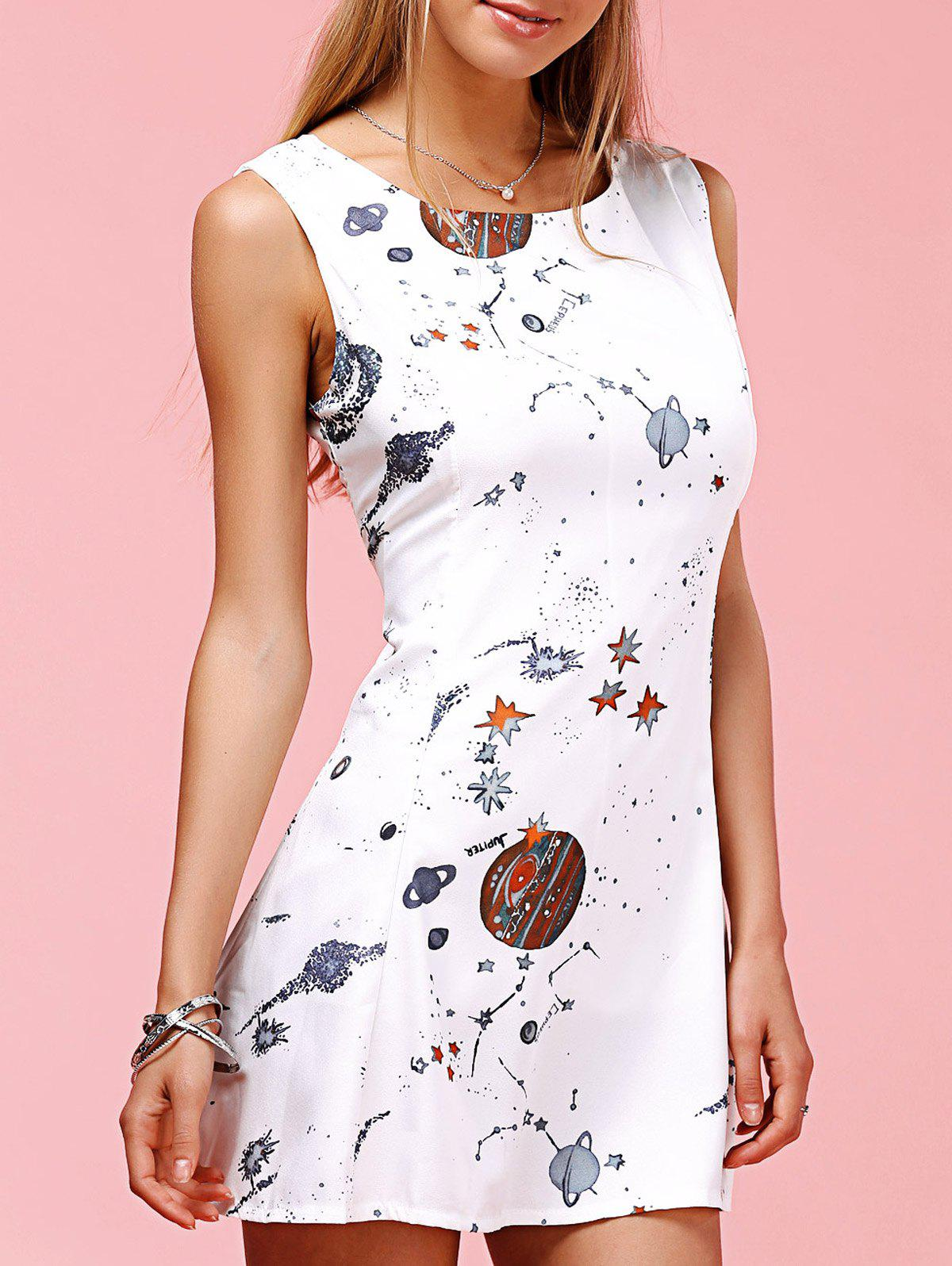 Cute Round Neck Sleeveless Planet Pattern Mini Dress For Women - WHITE L
