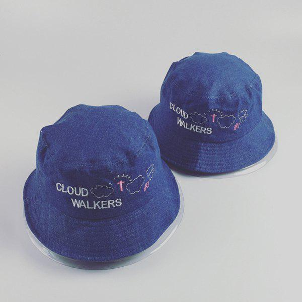 Chic Letters Cloud Cross Embroidery Denim Fabric Women's Bucket Hat - DEEP BLUE