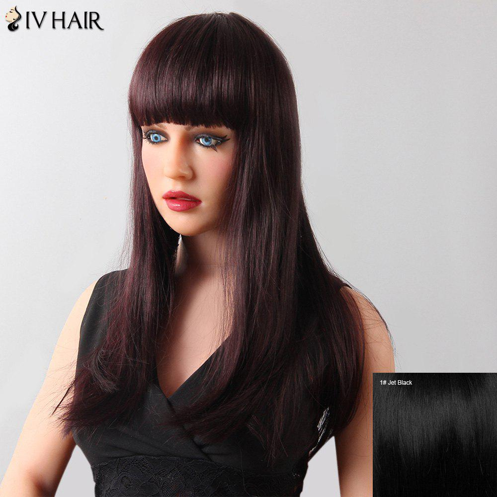 Stylish Natural Straight Full Bang Siv Hair Human Hair Women's Wig - JET BLACK