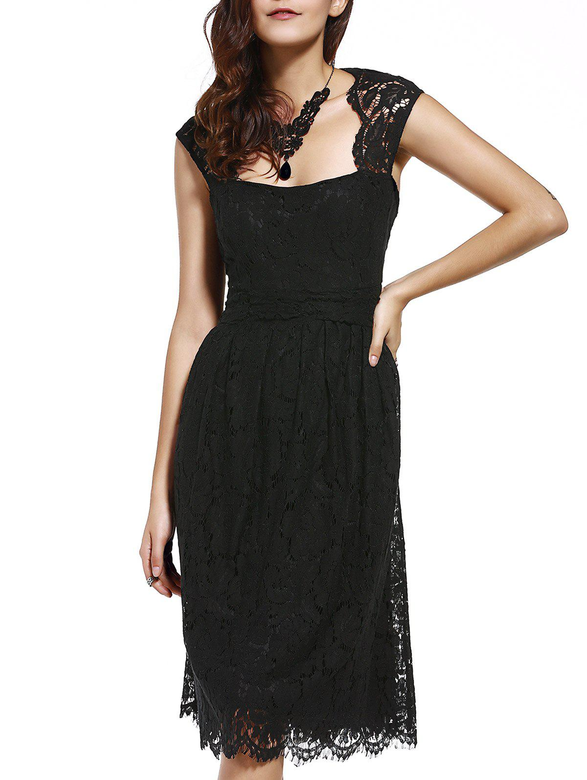 Garceful Women's Strappy Lace Hollow Out Dress - BLACK L