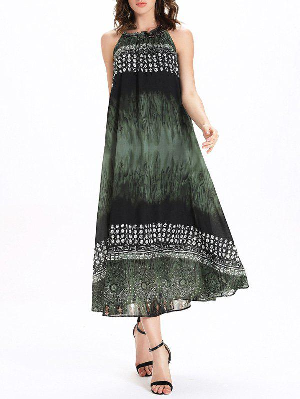 Frilled Jewel Neck Printed Tie Belt Womens Dress