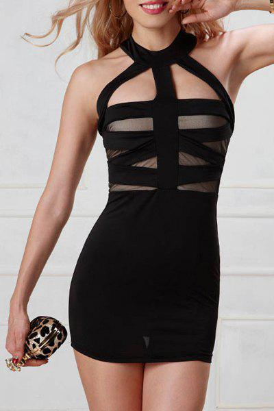 Trendy Keyhole Neck Bodycon Openback Women's Dress - BLACK L