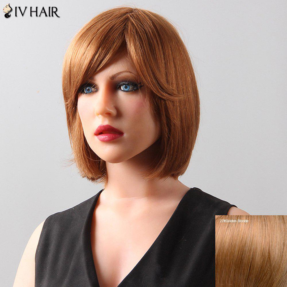 Stylish Natural Straight Bob Style Siv Hair Human Hair Women's Wig - GOLDEN BLONDE