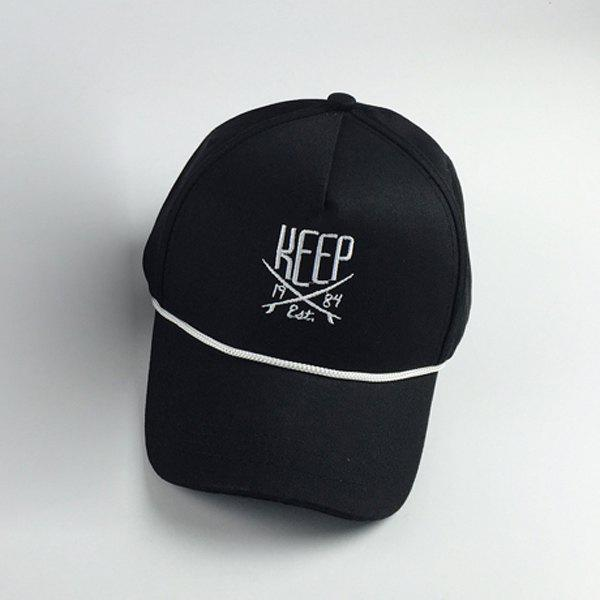 Stylish Letters Embroidery and Drawstring Embellished Hip Hop Baseball Cap - BLACK