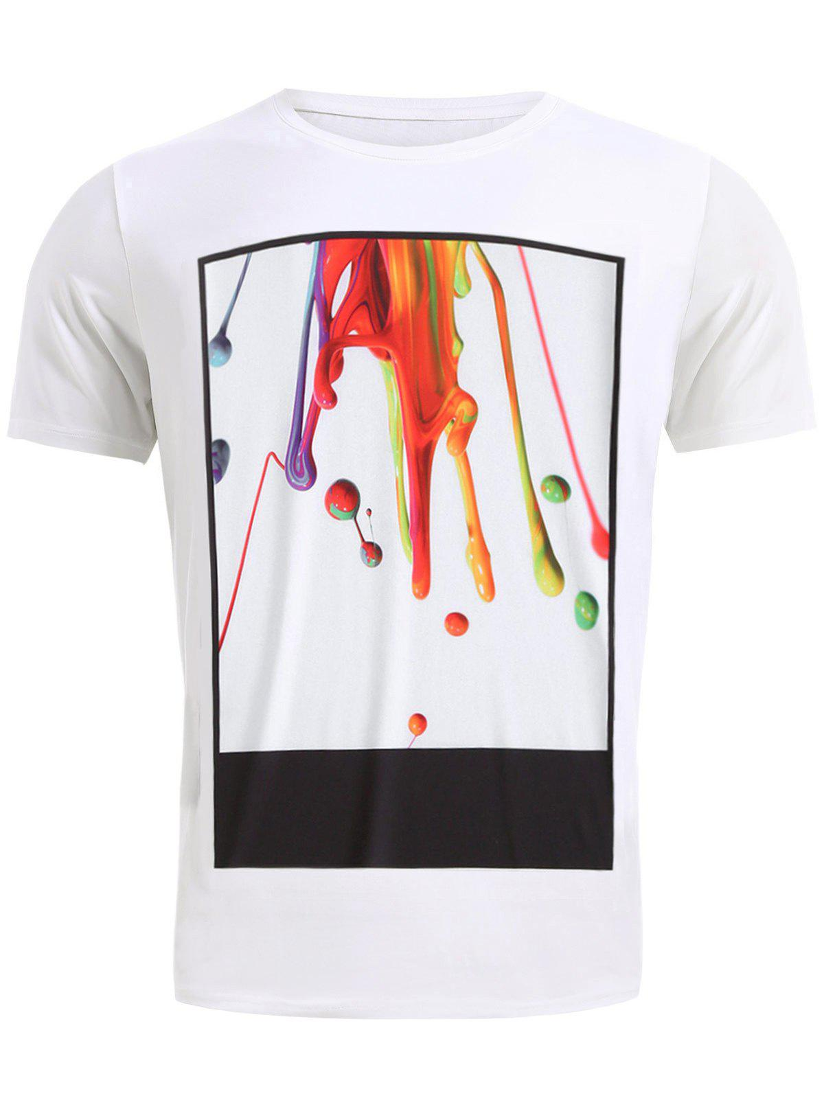 Stylish 3D Coloful Pigment Print Round Neck Short Sleeve Men's T-Shirt - WHITE 2XL