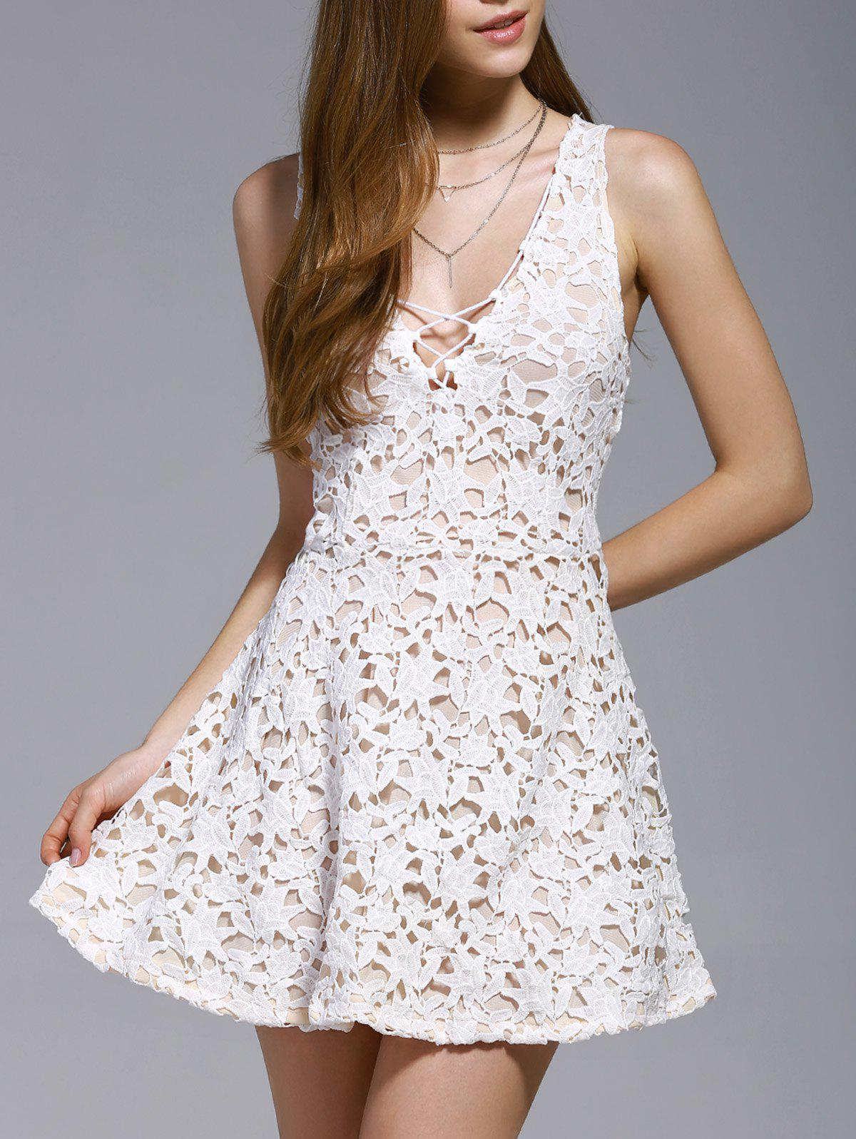 Alluring Women's Plunging Neck Sleeveless Cut Out Lace Dress - WHITE XL
