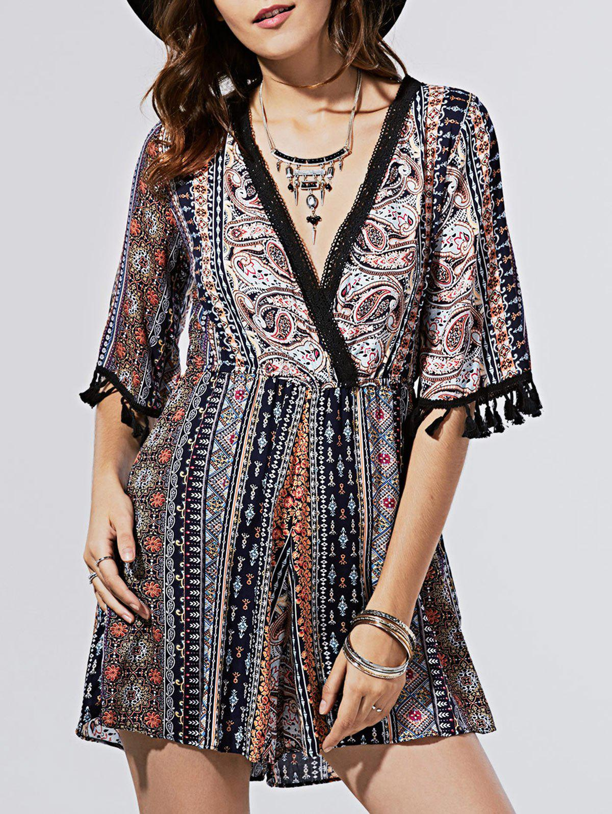 Stylish Women's Elastic Waist Tassel Trim Printed Romper - COLORMIX ONE SIZE(FIT SIZE XS TO M)