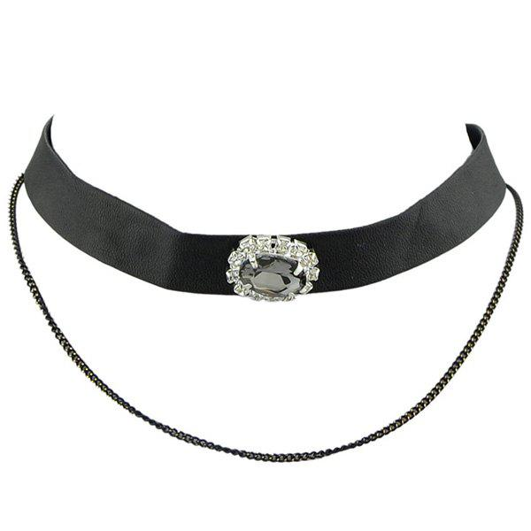 Gorgeous Faux Crystal Oval Choker Necklace For Women - BLACK