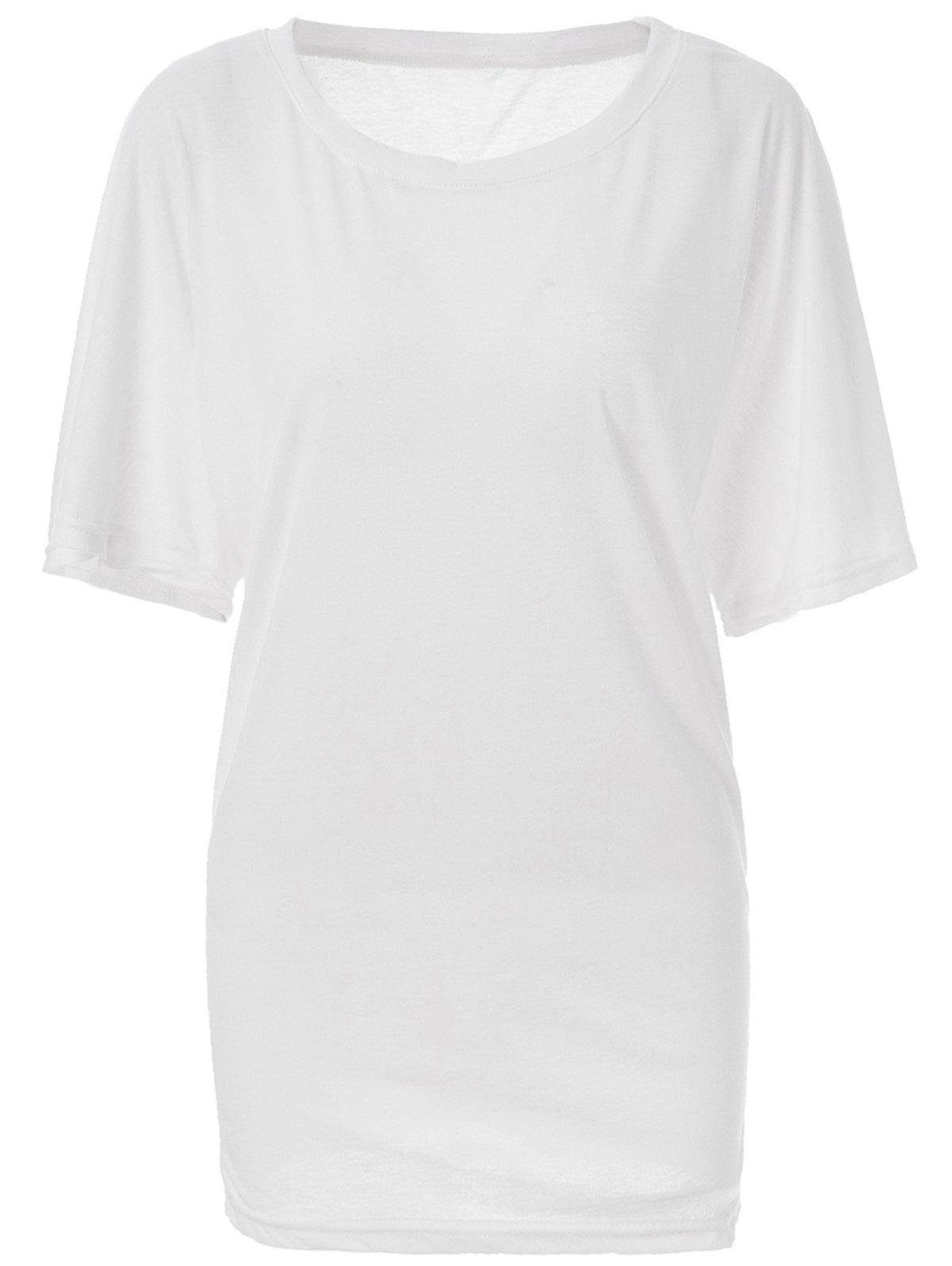 Stylish Boat Neck Short Sleeve Solid Color Women's T-Shirt - WHITE M