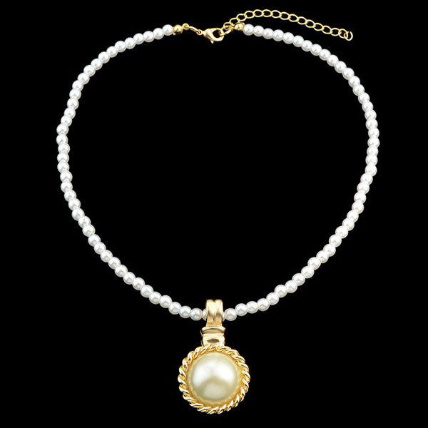 Embellished Faux Pearl Pendant Necklace - GOLDEN